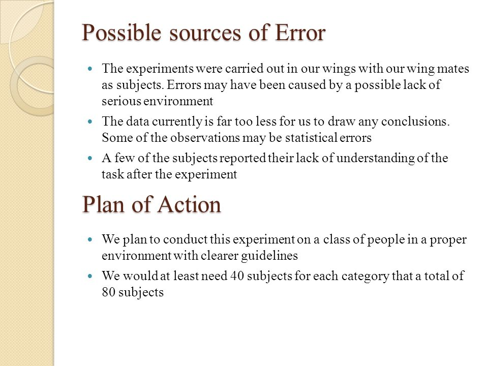 Possible sources of Error The experiments were carried out in our wings with our wing mates as subjects. Errors may have been caused by a possible lac