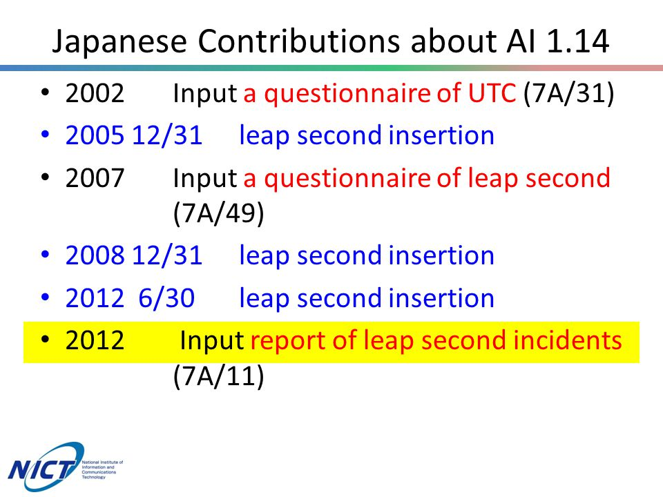 Japanese Contributions about AI 1.14 2002Input a questionnaire of UTC (7A/31) 2005 12/31leap second insertion 2007Input a questionnaire of leap second (7A/49) 2008 12/31leap second insertion 2012 6/30leap second insertion 2012 Input report of leap second incidents (7A/11)