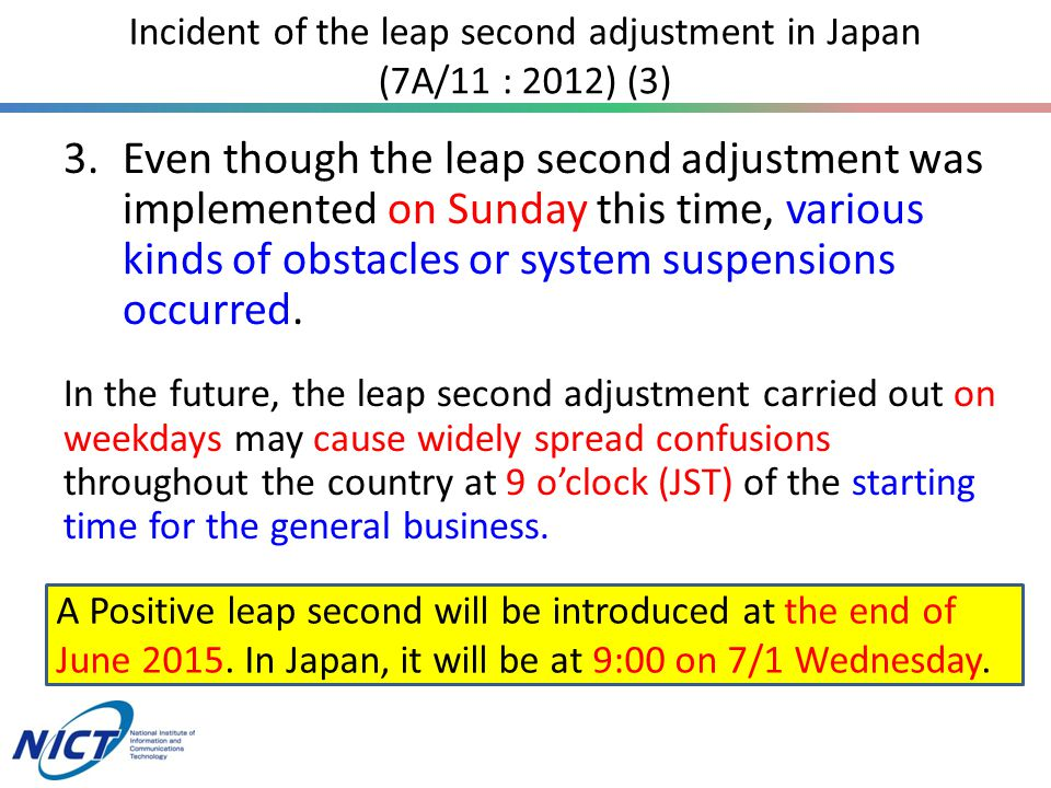 A Positive leap second will be introduced at the end of June 2015.