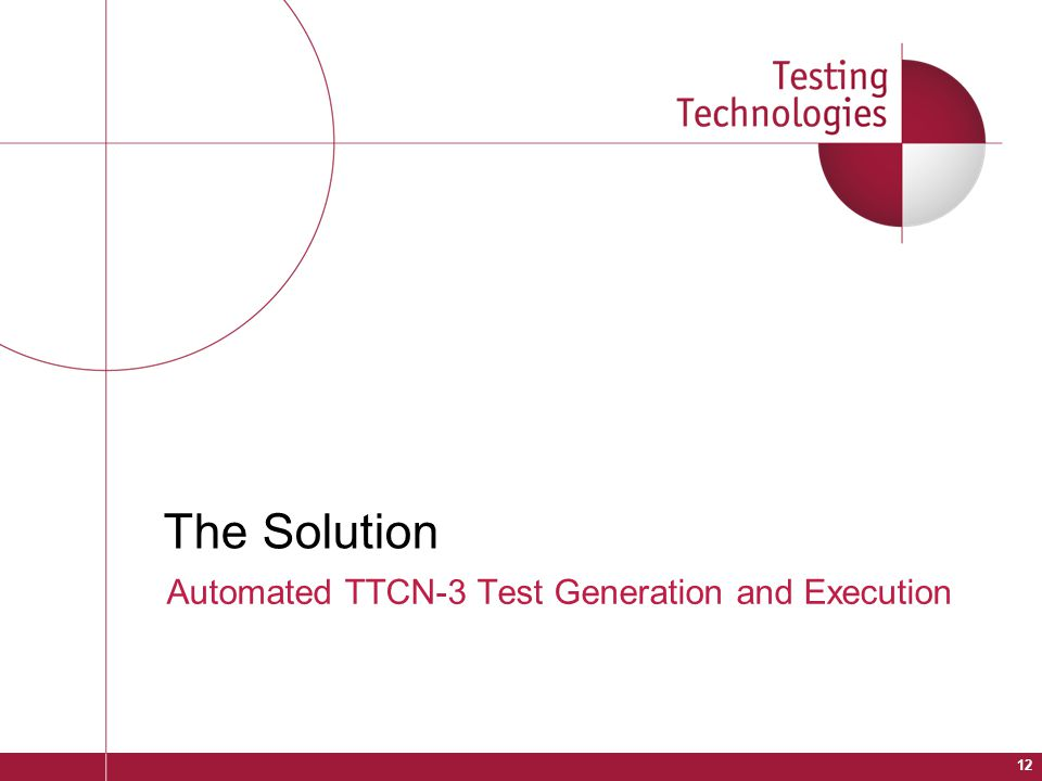 The Solution Automated TTCN-3 Test Generation and Execution 12