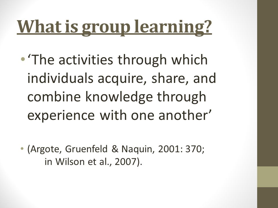 What is group learning.
