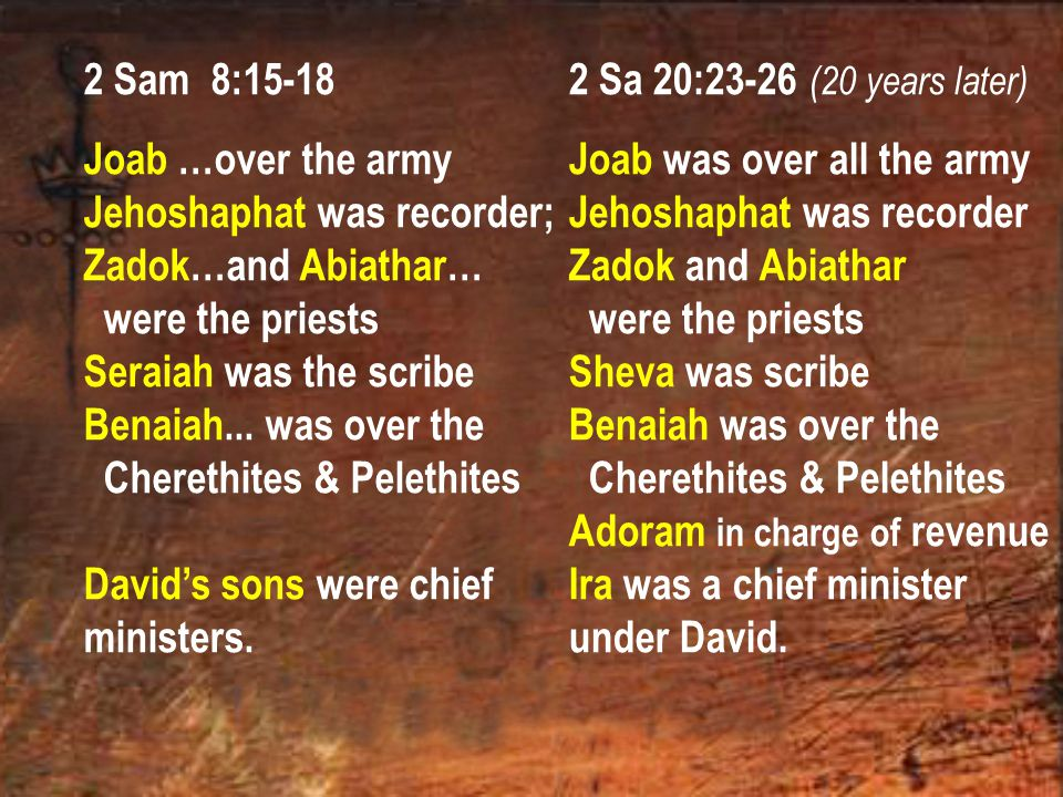 2 Sam 8:15-18 Joab …over the army Jehoshaphat was recorder; Zadok…and Abiathar… were the priests Seraiah was the scribe Benaiah...