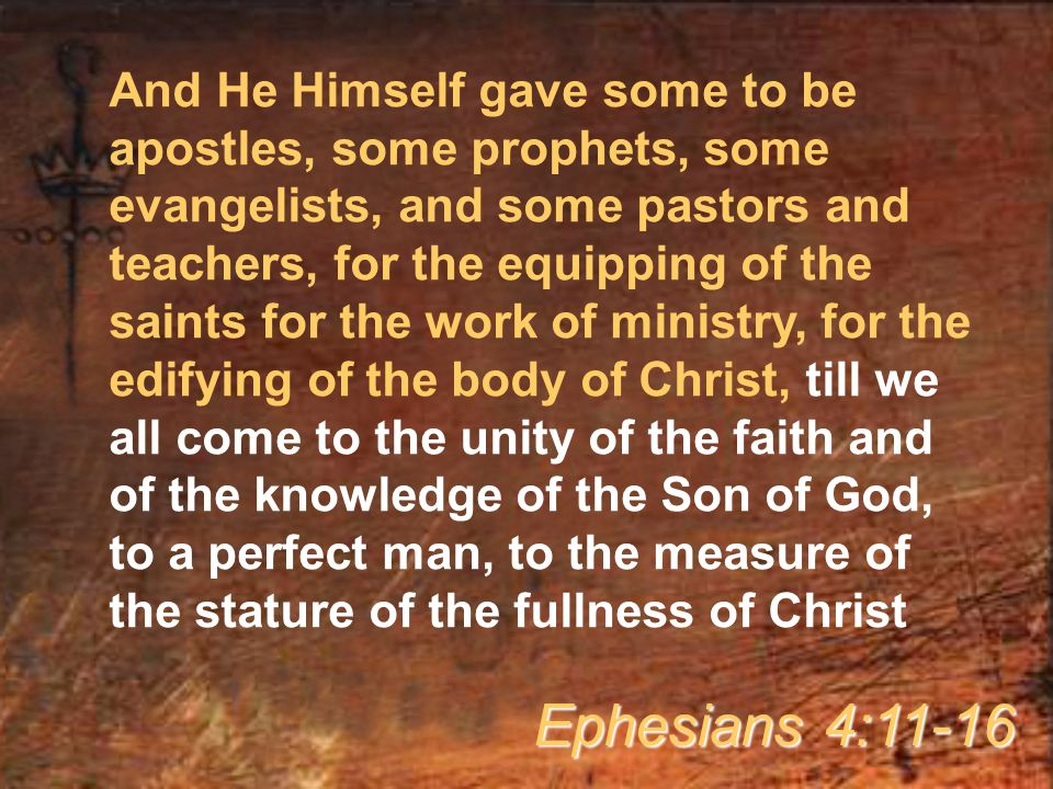 And He Himself gave some to be apostles, some prophets, some evangelists, and some pastors and teachers, for the equipping of the saints for the work of ministry, for the edifying of the body of Christ, till we all come to the unity of the faith and of the knowledge of the Son of God, to a perfect man, to the measure of the stature of the fullness of Christ Ephesians 4:11-16