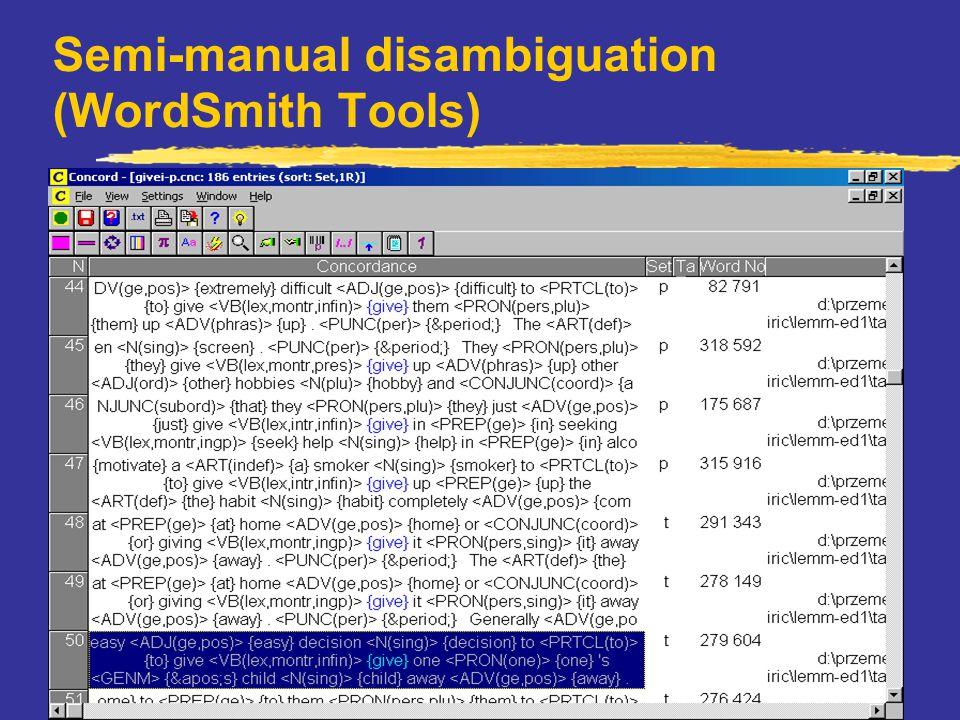 ICAME 2001, Louvain-la-Neuve Semi-manual disambiguation (WordSmith Tools)