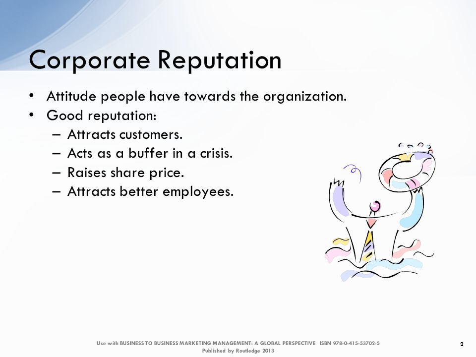 Corporate Reputation Attitude people have towards the organization.