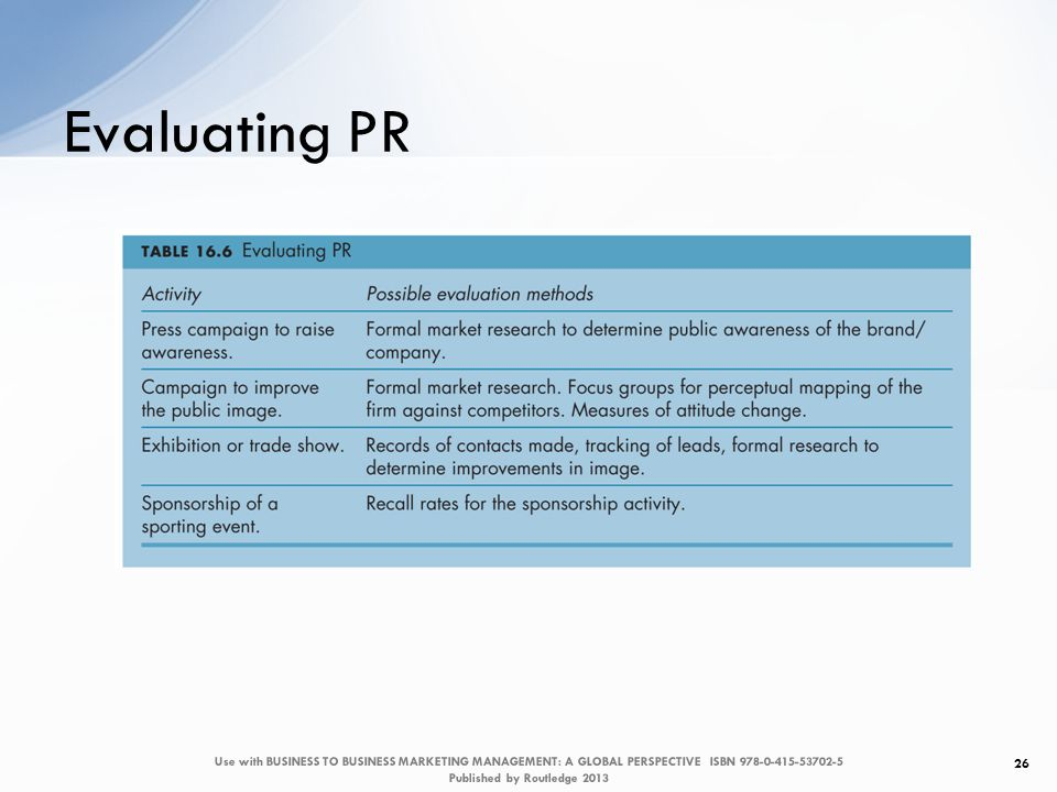 Evaluating PR 26 Use with BUSINESS TO BUSINESS MARKETING MANAGEMENT: A GLOBAL PERSPECTIVE ISBN 978-0-415-53702-5 Published by Routledge 2013