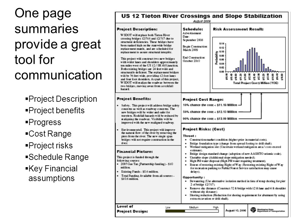 One page summaries provide a great tool for communication  Project Description  Project benefits  Progress  Cost Range  Project risks  Schedule