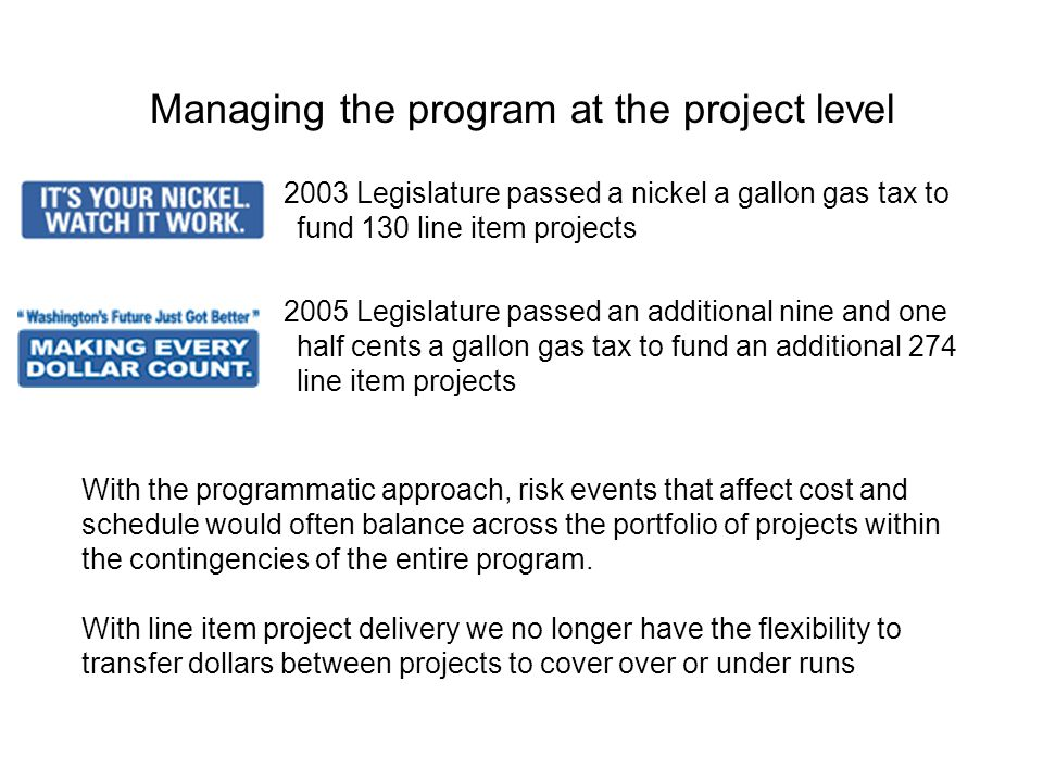 Managing the program at the project level 2003 Legislature passed a nickel a gallon gas tax to fund 130 line item projects 2005 Legislature passed an additional nine and one half cents a gallon gas tax to fund an additional 274 line item projects With the programmatic approach, risk events that affect cost and schedule would often balance across the portfolio of projects within the contingencies of the entire program.