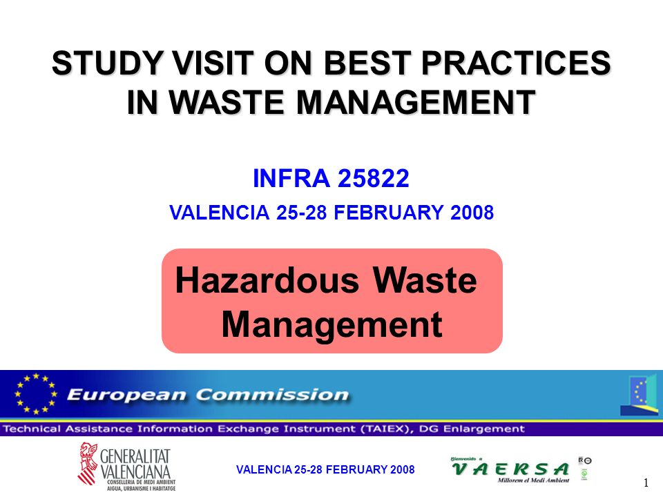 2 VALENCIA 25-28 FEBRUARY 2008 HAZARDOUS WASTE (2005) HAZARDOUS WASTE (2005) 30 30 Treatment Facilities 65 65 Operations (56 R and 9 D) Produced in VR 385.000 t - Producers (> 10 t/y): 338.000 t - Small Producers: 47.000 t Inputs from other Regions: 74.000 t Producers: 273 Small Producers: 13.562 Healthcare Waste Producers: 29 Healthcare Waste Small Producers: 2.093ACTIVITIES