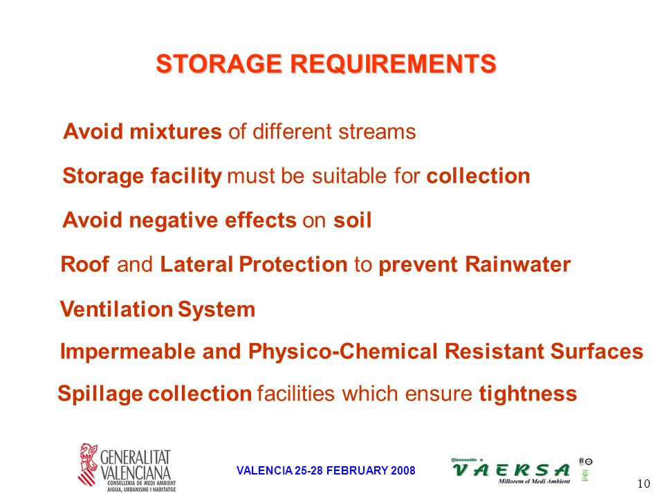 10 VALENCIA 25-28 FEBRUARY 2008 STORAGE REQUIREMENTS Roof and Lateral Protection to prevent Rainwater Avoid mixtures of different streams Avoid negative effects on soil Spillage collection facilities which ensure tightness Storage facility must be suitable for collection Ventilation System Impermeable and Physico-Chemical Resistant Surfaces