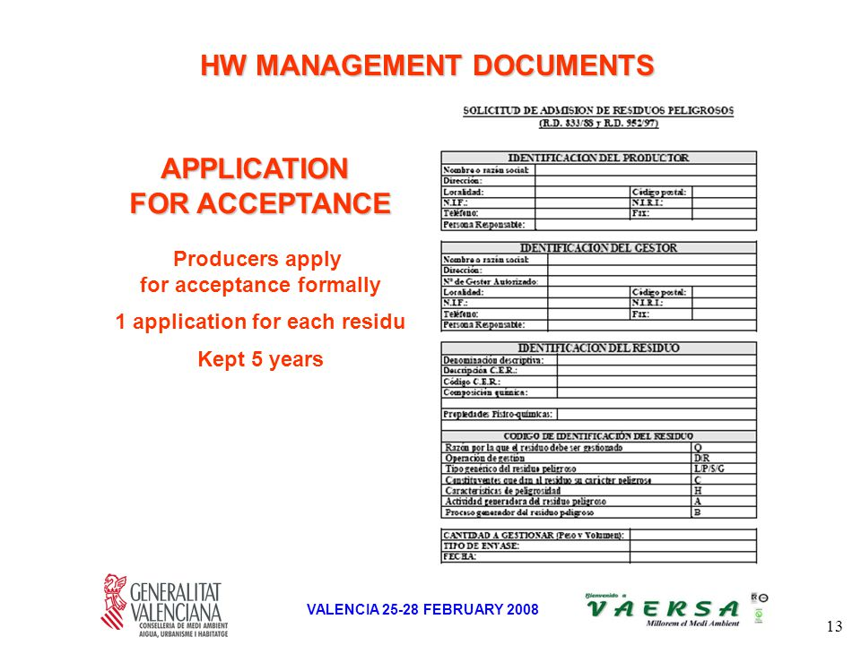 13 VALENCIA 25-28 FEBRUARY 2008 APPLICATION FOR ACCEPTANCE Producers apply for acceptance formally 1 application for each residu Kept 5 years HW MANAGEMENT DOCUMENTS