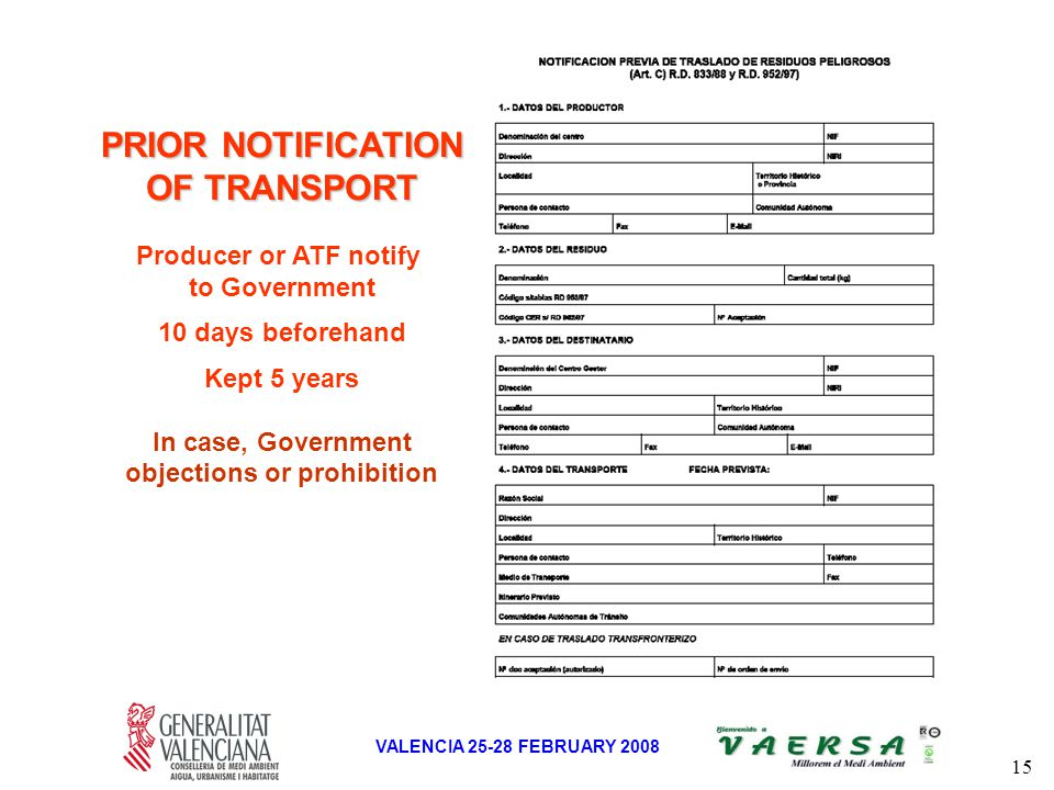 15 VALENCIA 25-28 FEBRUARY 2008 PRIOR NOTIFICATION OF TRANSPORT Producer or ATF notify to Government 10 days beforehand Kept 5 years In case, Government objections or prohibition