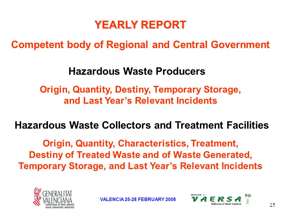 25 VALENCIA 25-28 FEBRUARY 2008 YEARLY REPORT Competent body of Regional and Central Government Hazardous Waste Collectors and Treatment Facilities Origin, Quantity, Characteristics, Treatment, Destiny of Treated Waste and of Waste Generated, Temporary Storage, and Last Year's Relevant Incidents Origin, Quantity, Destiny, Temporary Storage, and Last Year's Relevant Incidents Hazardous Waste Producers