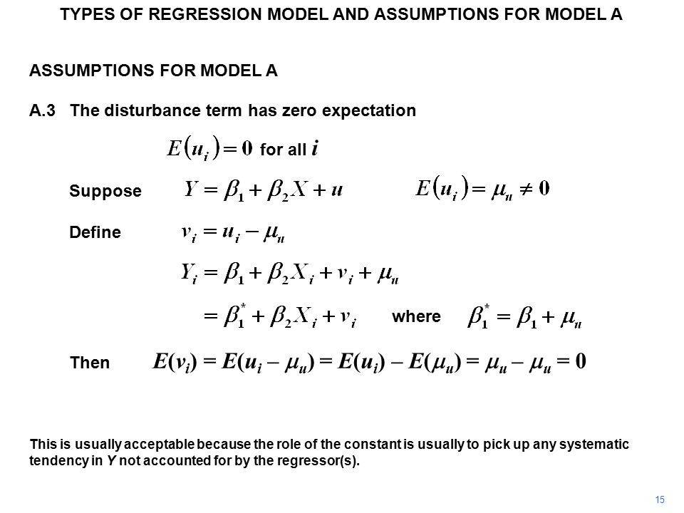 TYPES OF REGRESSION MODEL AND ASSUMPTIONS FOR MODEL A ASSUMPTIONS FOR MODEL A A.3The disturbance term has zero expectation for all i Suppose Define wh