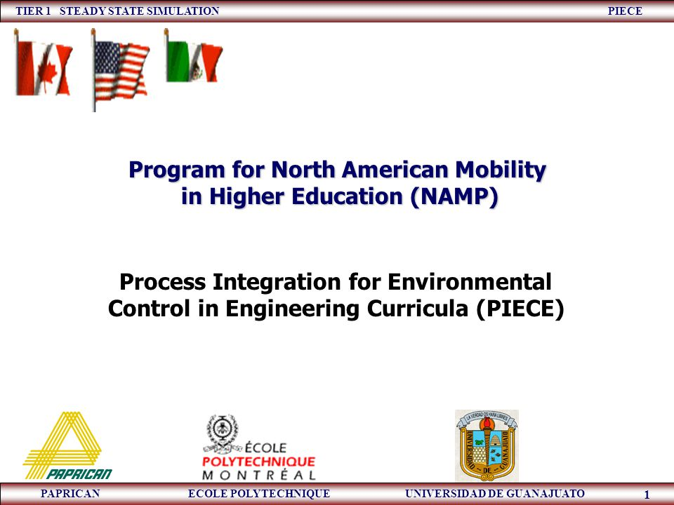TIER 1 STEADY STATE SIMULATION PIECE PAPRICAN ECOLE POLYTECHNIQUE UNIVERSIDAD DE GUANAJUATO 1 Process Integration for Environmental Control in Enginee