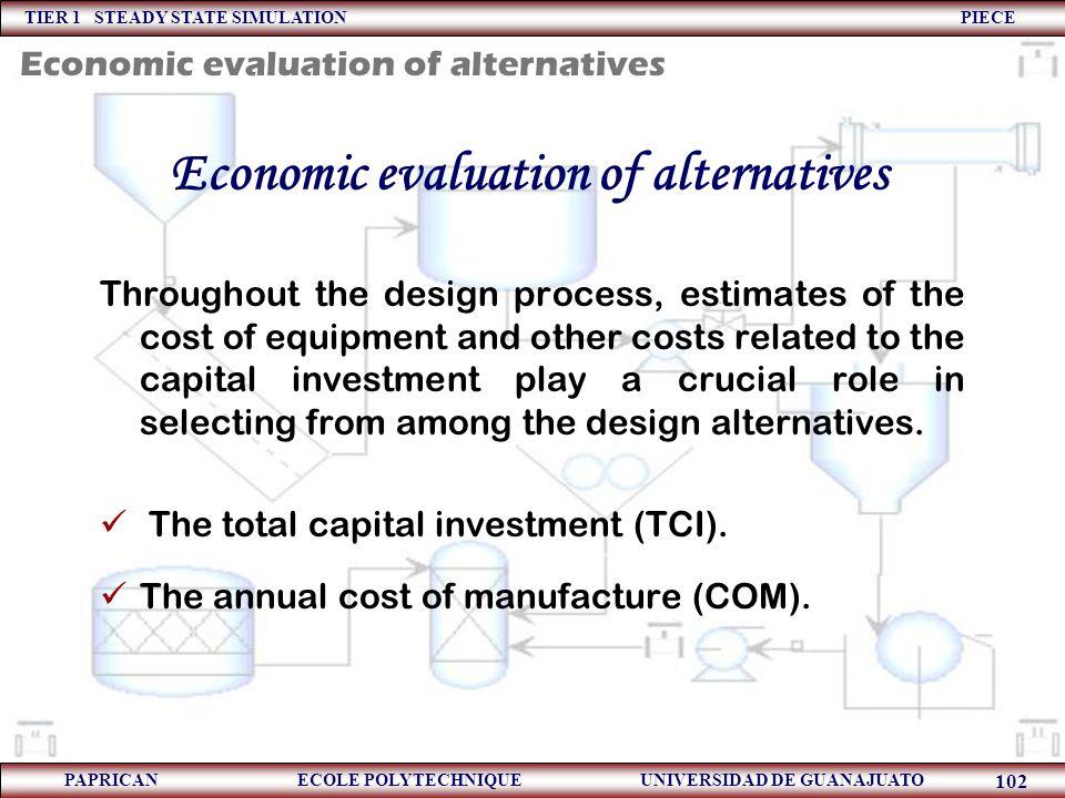 TIER 1 STEADY STATE SIMULATION PIECE PAPRICAN ECOLE POLYTECHNIQUE UNIVERSIDAD DE GUANAJUATO 102 Economic evaluation of alternatives Throughout the des