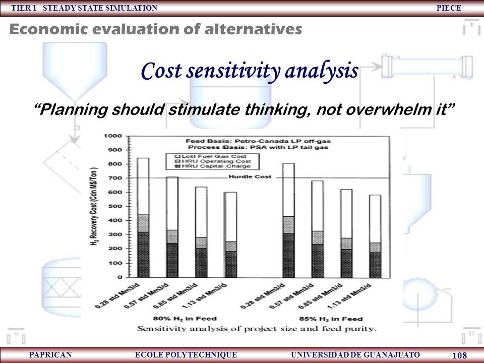 "TIER 1 STEADY STATE SIMULATION PIECE PAPRICAN ECOLE POLYTECHNIQUE UNIVERSIDAD DE GUANAJUATO 108 Cost sensitivity analysis ""Planning should stimulate t"