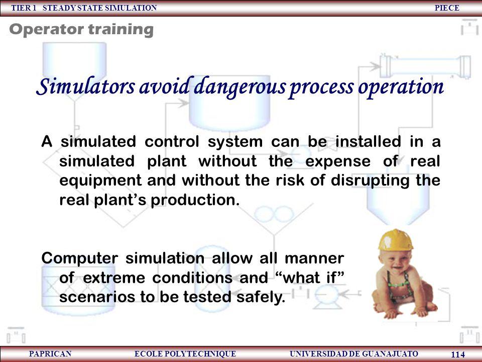 TIER 1 STEADY STATE SIMULATION PIECE PAPRICAN ECOLE POLYTECHNIQUE UNIVERSIDAD DE GUANAJUATO 114 Simulators avoid dangerous process operation A simulat