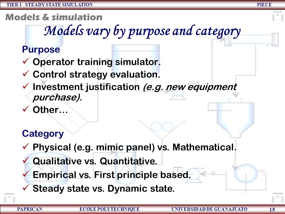TIER 1 STEADY STATE SIMULATION PIECE PAPRICAN ECOLE POLYTECHNIQUE UNIVERSIDAD DE GUANAJUATO 15 Models vary by purpose and category Purpose Operator tr