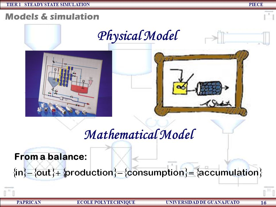 TIER 1 STEADY STATE SIMULATION PIECE PAPRICAN ECOLE POLYTECHNIQUE UNIVERSIDAD DE GUANAJUATO 16 Physical Model From a balance: Mathematical Model Model
