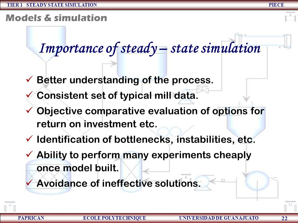 TIER 1 STEADY STATE SIMULATION PIECE PAPRICAN ECOLE POLYTECHNIQUE UNIVERSIDAD DE GUANAJUATO 22 Importance of steady – state simulation Better understa