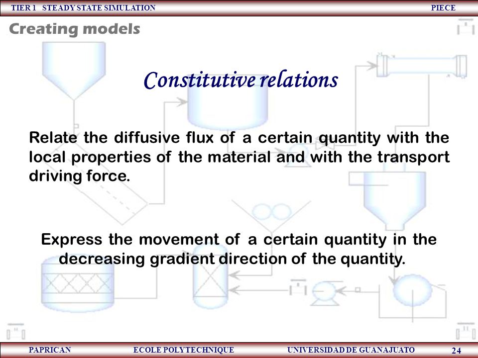 TIER 1 STEADY STATE SIMULATION PIECE PAPRICAN ECOLE POLYTECHNIQUE UNIVERSIDAD DE GUANAJUATO 24 Constitutive relations Relate the diffusive flux of a c