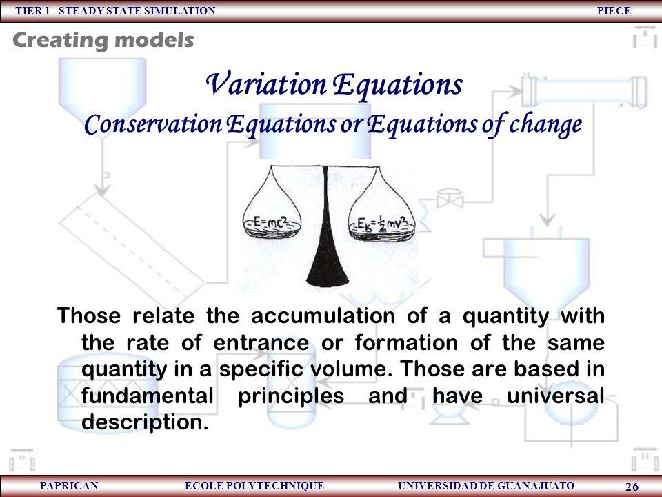 TIER 1 STEADY STATE SIMULATION PIECE PAPRICAN ECOLE POLYTECHNIQUE UNIVERSIDAD DE GUANAJUATO 26 Variation Equations Conservation Equations or Equations