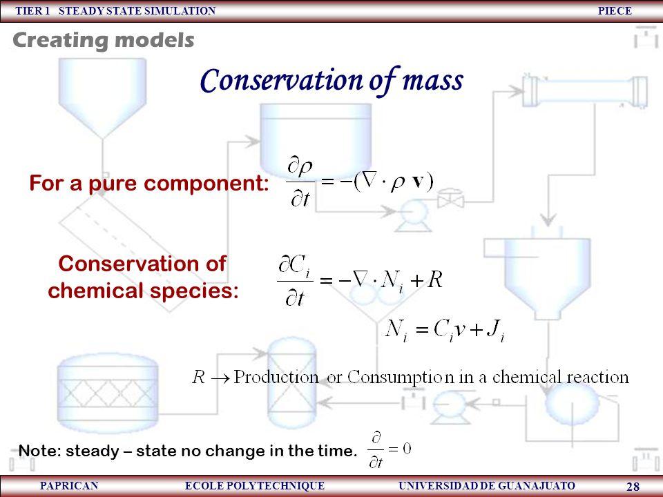 TIER 1 STEADY STATE SIMULATION PIECE PAPRICAN ECOLE POLYTECHNIQUE UNIVERSIDAD DE GUANAJUATO 28 Conservation of mass For a pure component: Conservation