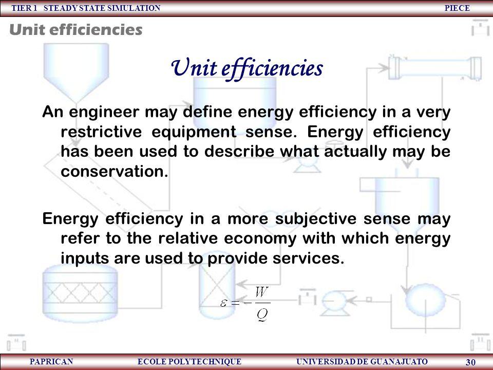 TIER 1 STEADY STATE SIMULATION PIECE PAPRICAN ECOLE POLYTECHNIQUE UNIVERSIDAD DE GUANAJUATO 30 Unit efficiencies An engineer may define energy efficie