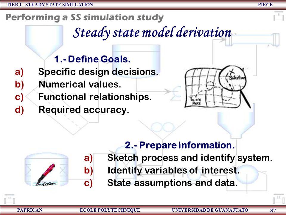 TIER 1 STEADY STATE SIMULATION PIECE PAPRICAN ECOLE POLYTECHNIQUE UNIVERSIDAD DE GUANAJUATO 37 Steady state model derivation 1.- Define Goals. a) Spec
