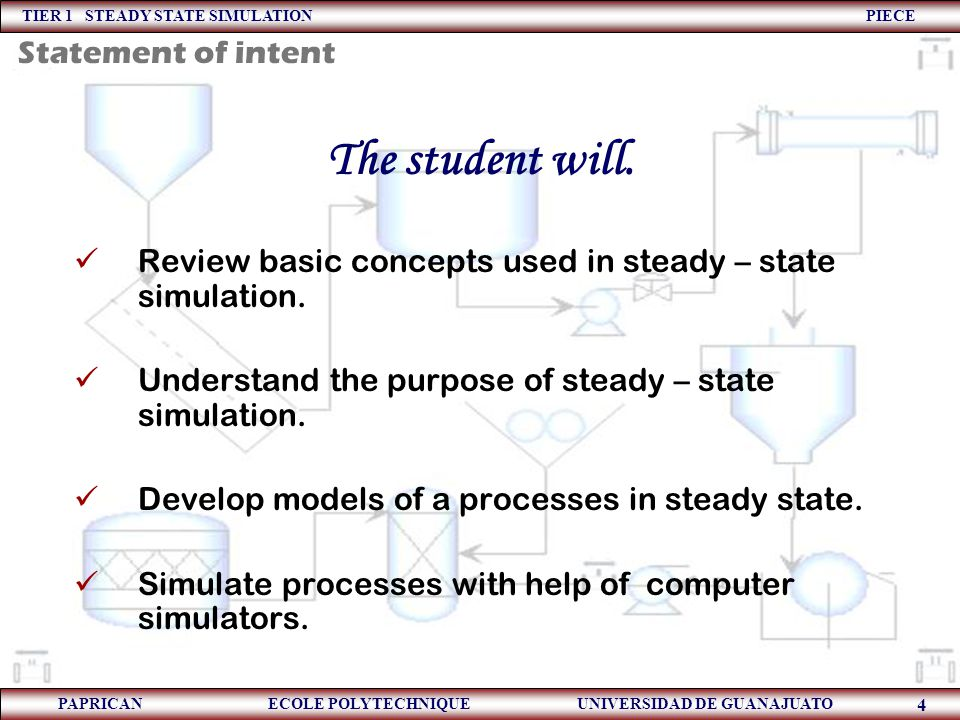 TIER 1 STEADY STATE SIMULATION PIECE PAPRICAN ECOLE POLYTECHNIQUE UNIVERSIDAD DE GUANAJUATO 4 Statement of intent The student will. Review basic conce