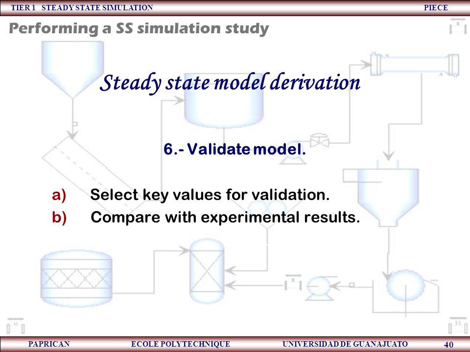 TIER 1 STEADY STATE SIMULATION PIECE PAPRICAN ECOLE POLYTECHNIQUE UNIVERSIDAD DE GUANAJUATO 40 Steady state model derivation 6.- Validate model. a) Se