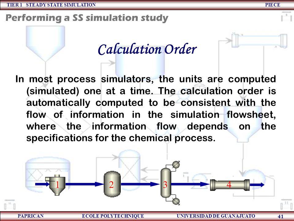 TIER 1 STEADY STATE SIMULATION PIECE PAPRICAN ECOLE POLYTECHNIQUE UNIVERSIDAD DE GUANAJUATO 41 Calculation Order In most process simulators, the units