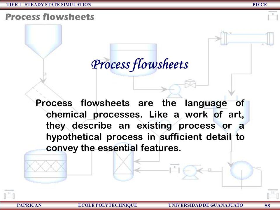 TIER 1 STEADY STATE SIMULATION PIECE PAPRICAN ECOLE POLYTECHNIQUE UNIVERSIDAD DE GUANAJUATO 58 Process flowsheets Process flowsheets are the language