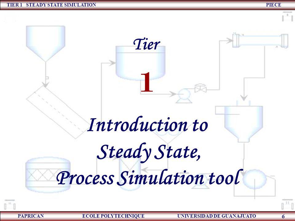 TIER 1 STEADY STATE SIMULATION PIECE PAPRICAN ECOLE POLYTECHNIQUE UNIVERSIDAD DE GUANAJUATO 6 Tier 1 Introduction to Steady State, Process Simulation