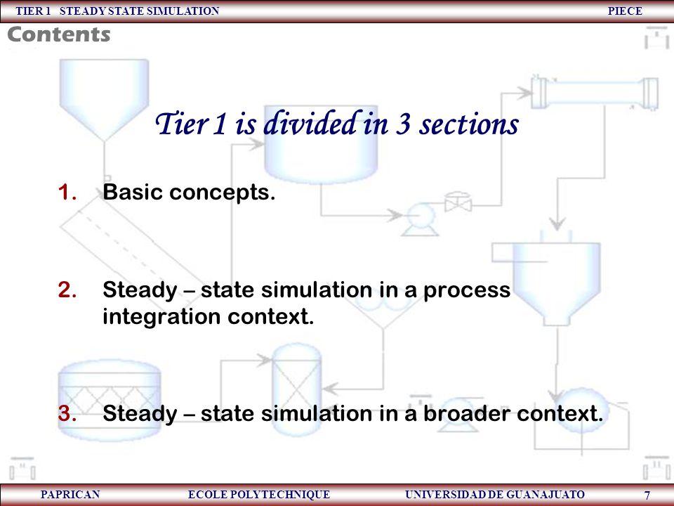 TIER 1 STEADY STATE SIMULATION PIECE PAPRICAN ECOLE POLYTECHNIQUE UNIVERSIDAD DE GUANAJUATO 7 1.Basic concepts. 2.Steady – state simulation in a proce