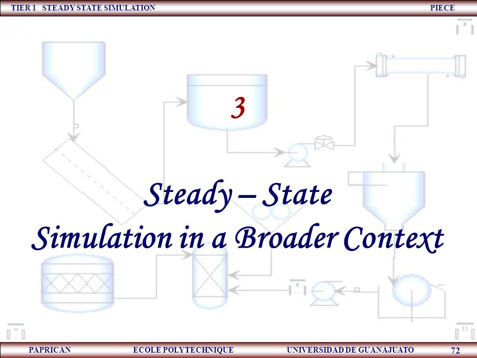TIER 1 STEADY STATE SIMULATION PIECE PAPRICAN ECOLE POLYTECHNIQUE UNIVERSIDAD DE GUANAJUATO 72 3 Steady – State Simulation in a Broader Context