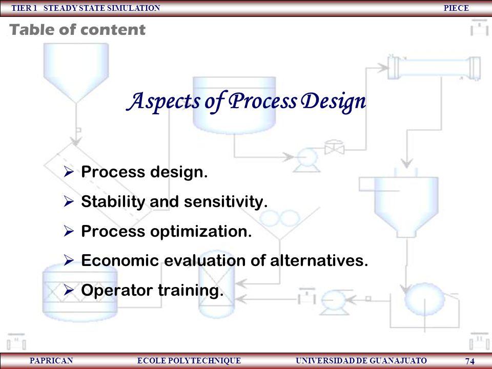 TIER 1 STEADY STATE SIMULATION PIECE PAPRICAN ECOLE POLYTECHNIQUE UNIVERSIDAD DE GUANAJUATO 74 Aspects of Process Design  Process design.  Stability