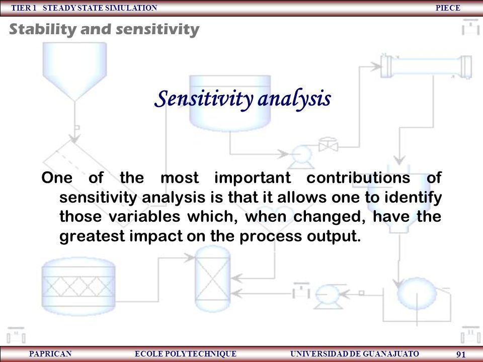 TIER 1 STEADY STATE SIMULATION PIECE PAPRICAN ECOLE POLYTECHNIQUE UNIVERSIDAD DE GUANAJUATO 91 Sensitivity analysis One of the most important contribu