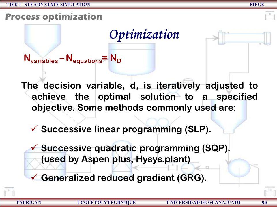 TIER 1 STEADY STATE SIMULATION PIECE PAPRICAN ECOLE POLYTECHNIQUE UNIVERSIDAD DE GUANAJUATO 96 Optimization N variables – N equations = N D The decisi
