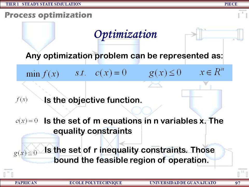 TIER 1 STEADY STATE SIMULATION PIECE PAPRICAN ECOLE POLYTECHNIQUE UNIVERSIDAD DE GUANAJUATO 97 Optimization Any optimization problem can be represente
