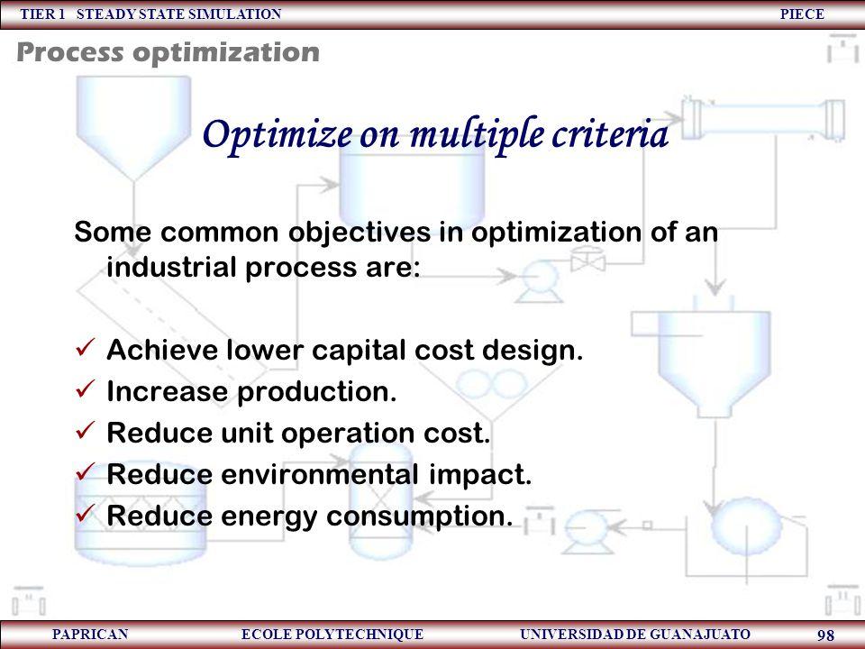 TIER 1 STEADY STATE SIMULATION PIECE PAPRICAN ECOLE POLYTECHNIQUE UNIVERSIDAD DE GUANAJUATO 98 Optimize on multiple criteria Some common objectives in