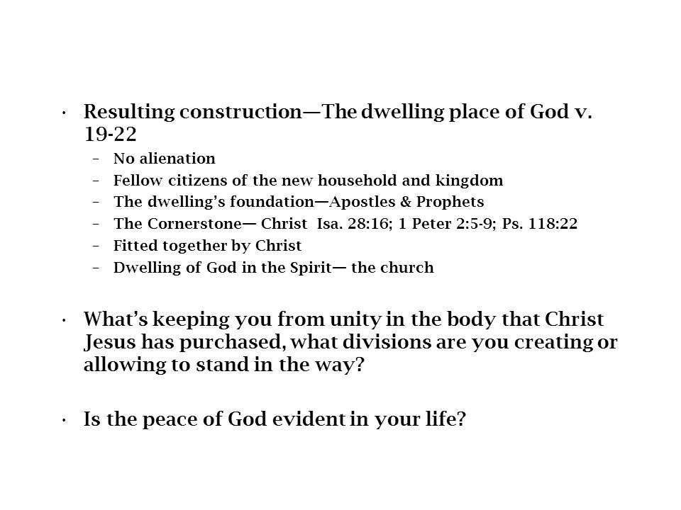 Resulting construction—The dwelling place of God v.