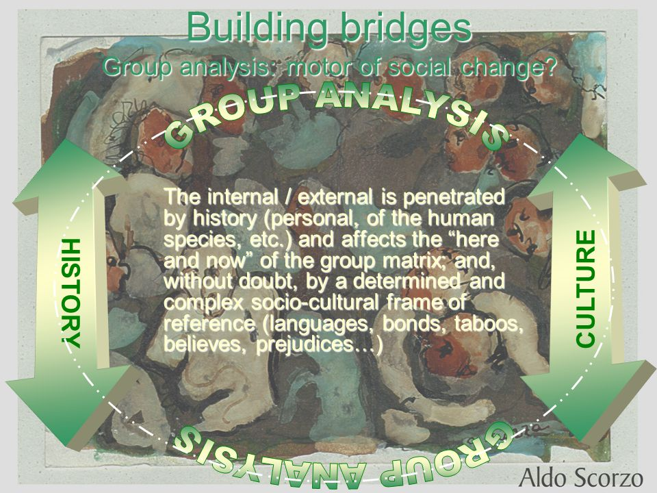 Building bridges Group analysis: motor of social change.
