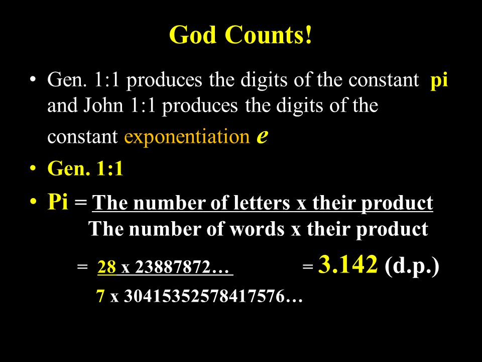 God Counts. Gen.