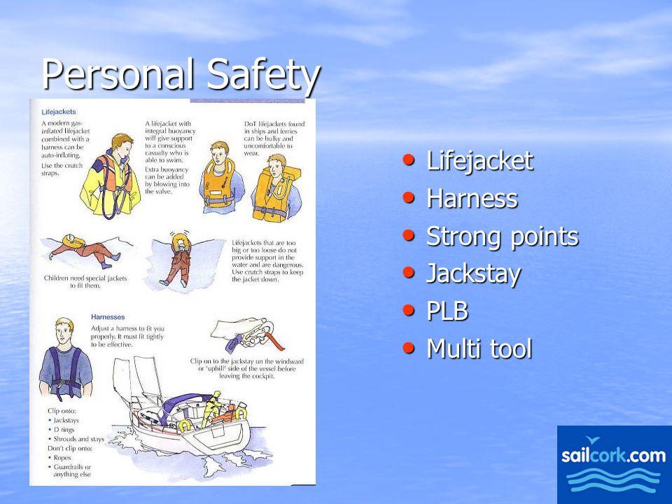 10 Personal Safety Lifejacket Lifejacket Harness Harness Strong points Strong points Jackstay Jackstay PLB PLB Multi tool Multi tool