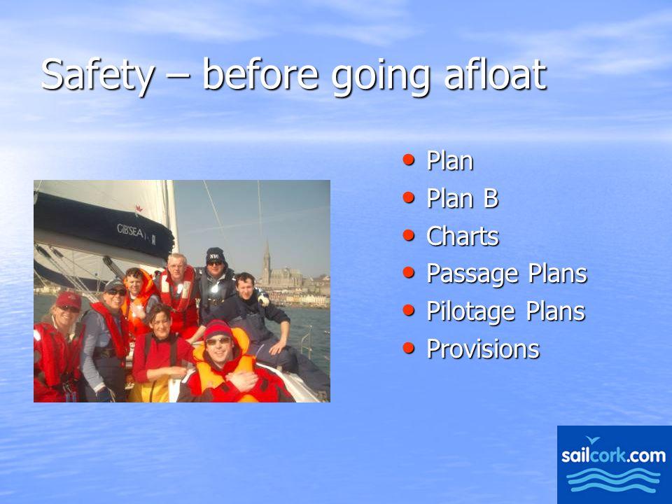 2 Safety – before going afloat Plan Plan Plan B Plan B Charts Charts Passage Plans Passage Plans Pilotage Plans Pilotage Plans Provisions Provisions