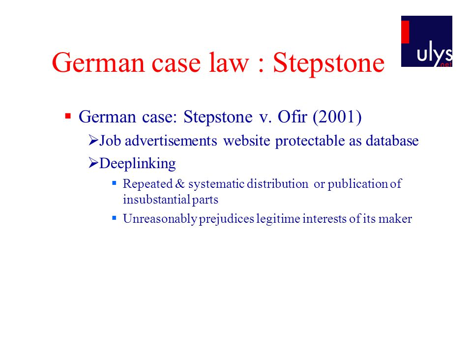 German case law : Stepstone  German case: Stepstone v.