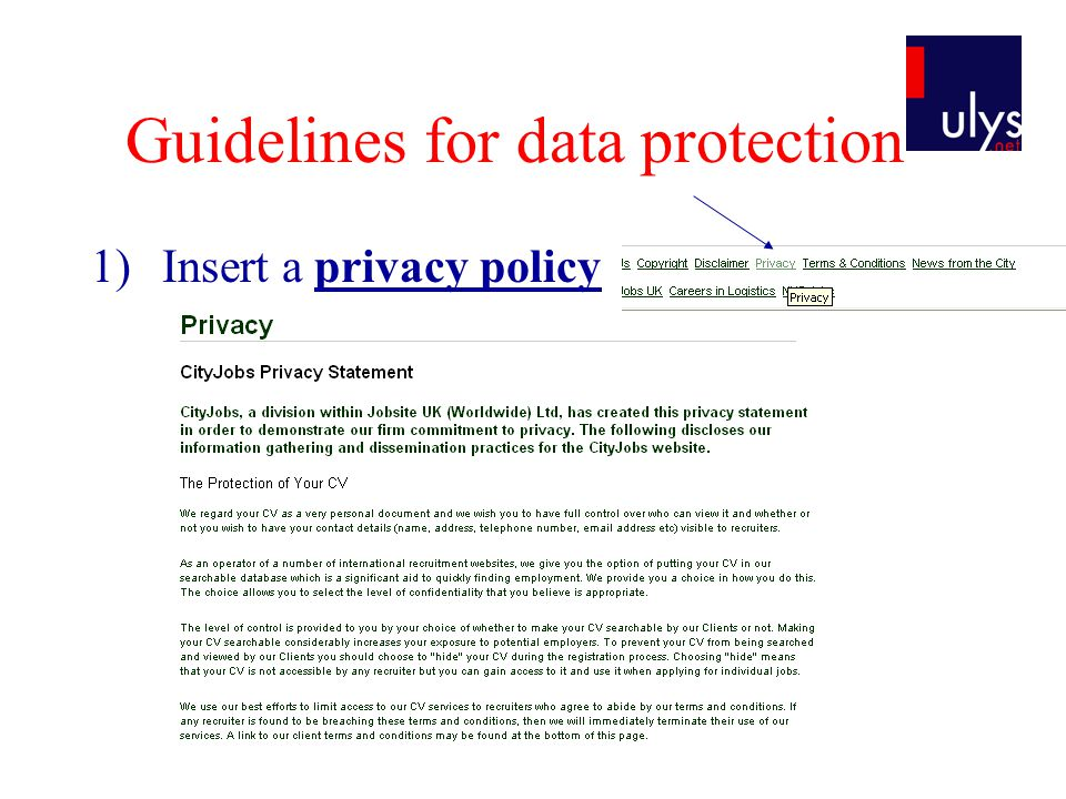 Guidelines for data protection 1)Insert a privacy policy