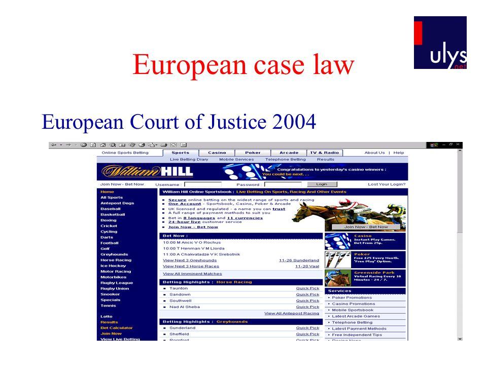 European case law European Court of Justice 2004